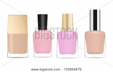 Four glass nail polish bottles. Different colors and shapes. Vector illustration