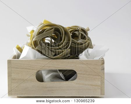 fettuccine on the white background