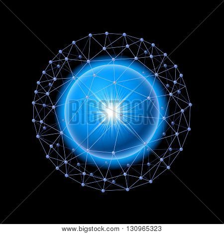 Bright blue ball inside the internet grid on a black background