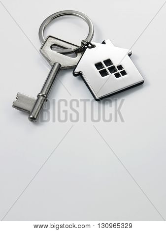 house shape key chain on the white background