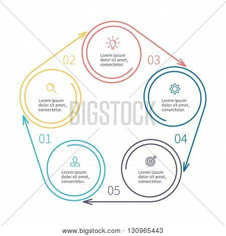 Circular infographics. Minimalistic chart, diagram with 5 steps, parts. Vector design template.