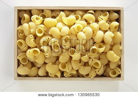 pipe rigate pasta on the white background