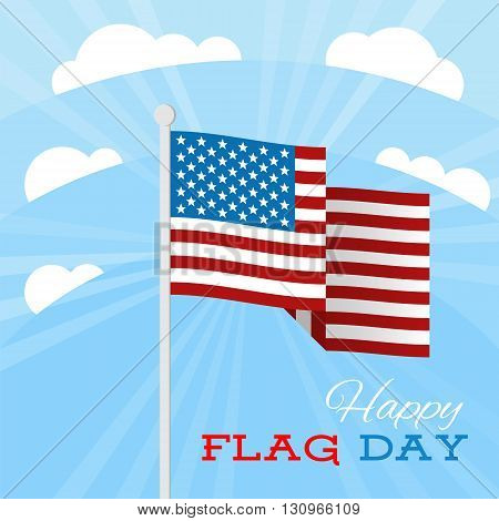 USA flag with stars and stripes on a blue sky background. Vector illustration for June 14. United States Army Birthday day celebration.