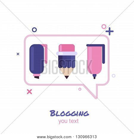 Blogging. Abstract isolated logo.Design concept for blog, chat, social media network, forum, communication.