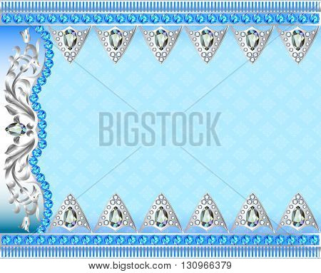 Illustration background with silver ornaments and precious stone