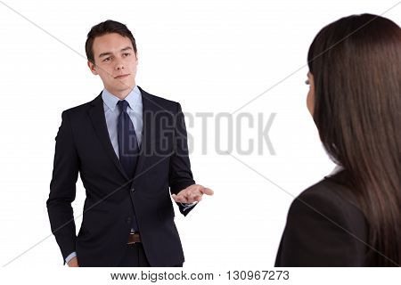 Young Caucasian Business Man Reprimanding A Business Woman