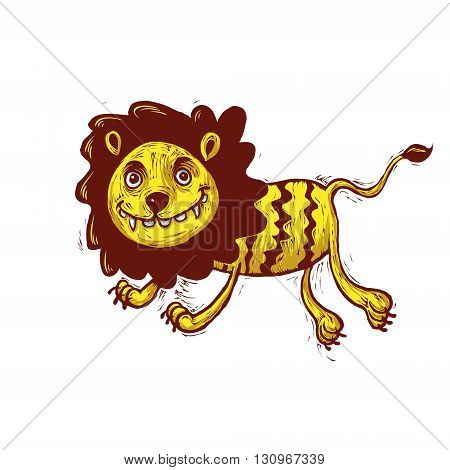 vector illustration of a lion with a big smile