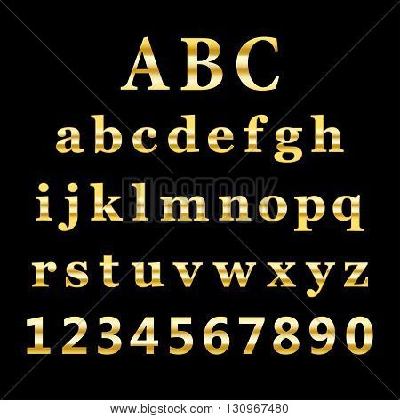 vector golden alphabet and numbers on black background