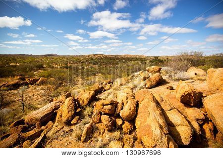 A view towards the West Macdonnell Ranges from near the Old Telegraph Station in Alice Springs, Northern Territory, Australia