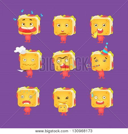 Sandwich Character Set Of Flat Childish Funny Design Vector Drawings Isolated On Dark Background