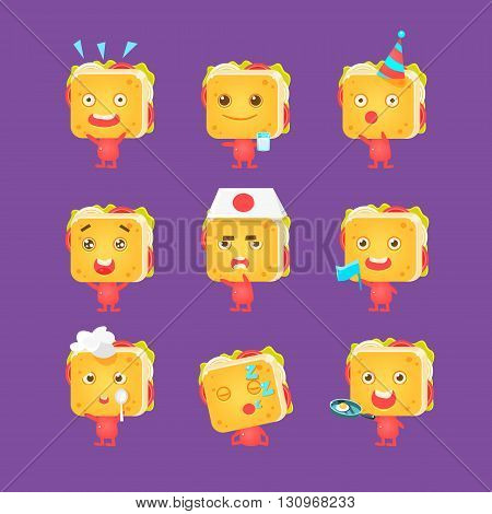 Sandwich Character Collection Of Flat Childish Funny Design Vector Drawings Isolated On Dark Background