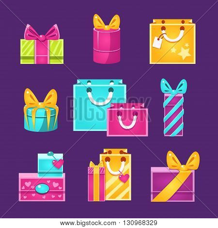 Wrapped Presents Set Of Flat Simple Bright Color Design Vector Drawings Isolated On Dark Background