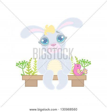 Bunny Sitting On Garden Bench Illustration In Cute Girly Cartoon Style Isolated On White Background