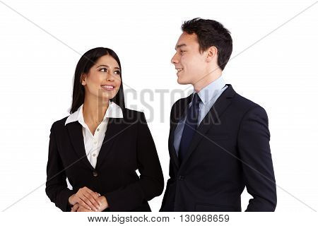Young Caucasian Business Man Is Smiling At A Business Woman