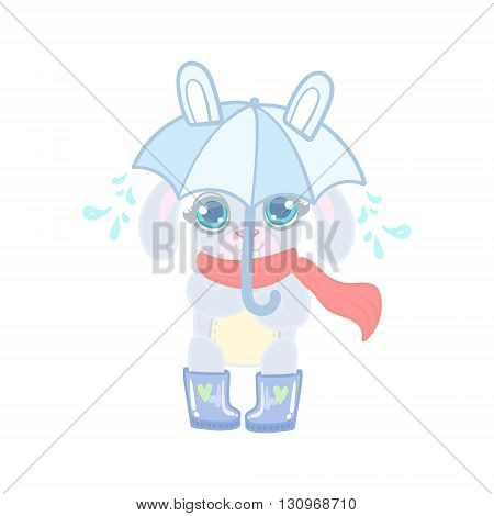 Bunny With Umbrella Under Rain Illustration In Cute Girly Cartoon Style Isolated On White Background