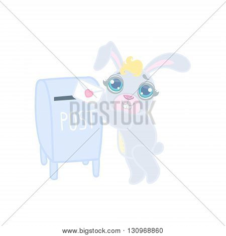 Bunny Mailing A Letter Illustration In Cute Girly Cartoon Style Isolated On White Background