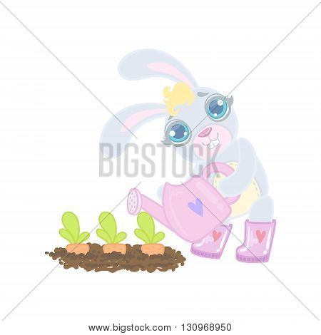 Bunny Planting The Carrots Illustration In Cute Girly Cartoon Style Isolated On White Background
