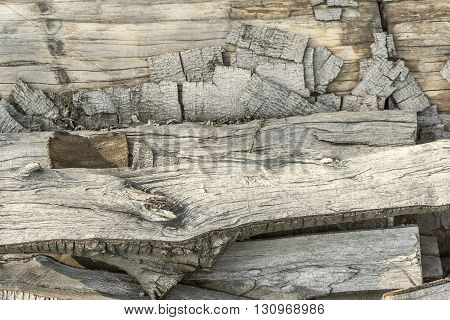 full frame abstract background showing broken dry wood