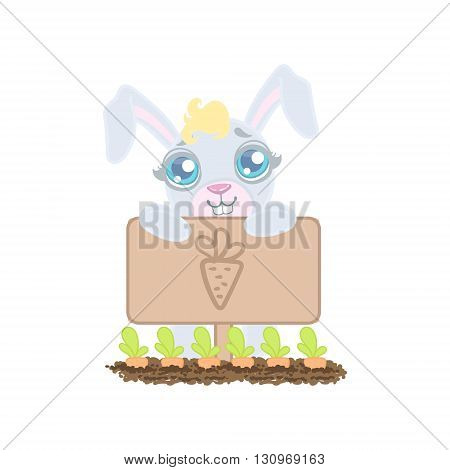 Bunny Growing The Carrots Illustration In Cute Girly Cartoon Style Isolated On White Background