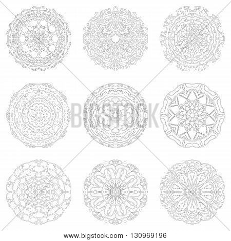Zentangle mandala for adult coloring. Floral decorative elements. Oriental pattern, vector illustration isolated on white. Black and white mandala set