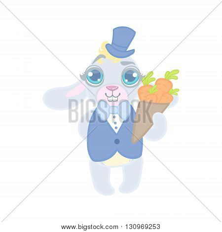 Bunny Dressed In Suit On Date Illustration In Cute Girly Cartoon Style Isolated On White Background