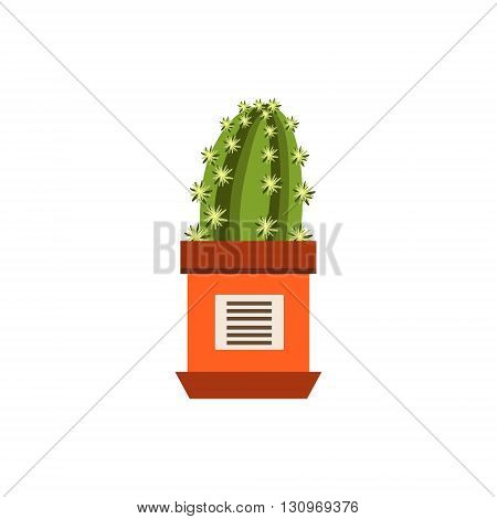 Cactus In A Pot Flat Cartoon Childish Style  Vector Icon Isolated On White Background