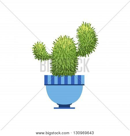 Cactus With Two Branches In A Pot Flat Cartoon Childish Style  Vector Icon Isolated On White Background