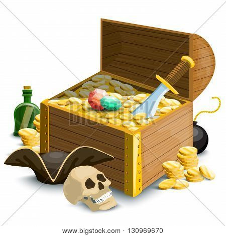 Pirate illustration. Set with coins, pirate treasure chest, skull and other objects