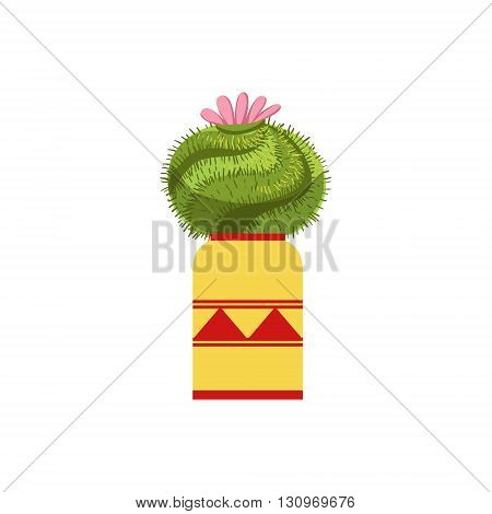 Blooming Spherical Cactus In A Pot Flat Cartoon Childish Style  Vector Icon Isolated On White Background