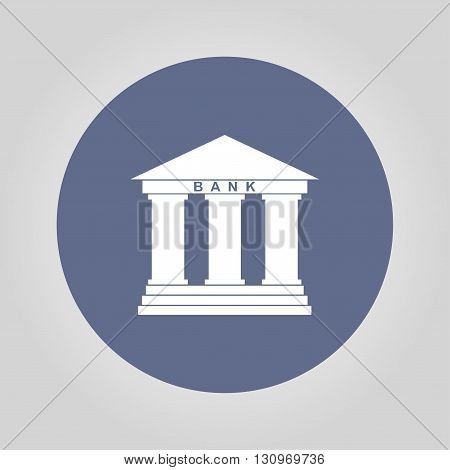 Bank icon in flat style with the building facade with three pillars illustration