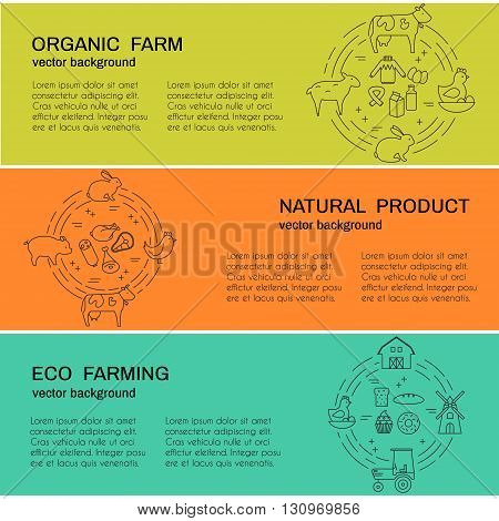 Modern collection of vector banners with agriculture and eco products elementsand sample text. Perfect banner for advertising packaging and other design.