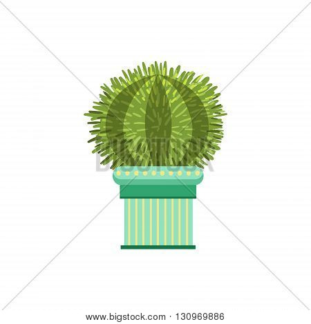 Big Globe Shape Cactus In A Pot Flat Cartoon Childish Style  Vector Icon Isolated On White Background