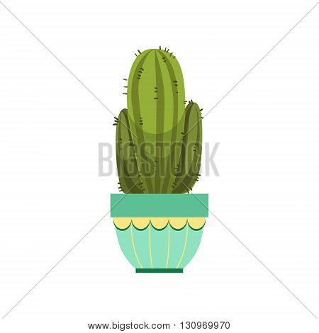 Tall Cactus With Two Branches In Blue Pot Flat Cartoon Childish Style  Vector Icon Isolated On White Background