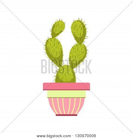 Cactus In Pink Pot Flat Cartoon Childish Style  Vector Icon Isolated On White Background