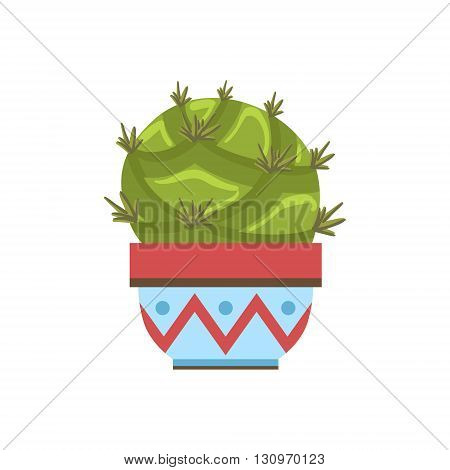 Big Blob Shape Cactus In A Pot Flat Cartoon Childish Style  Vector Icon Isolated On White Background