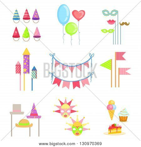 Party Decorations Set Of Colorful Simple Flat Vector Drawings On White Background