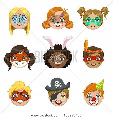 Kids With Painted Faces Portraits Collection Of Bright Color Cartoon Childish Style Flat Vector Drawings Isolated On White Background