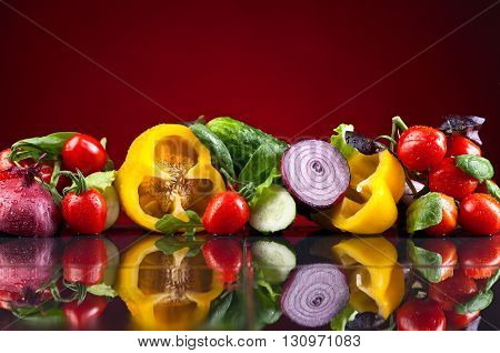 Vegetables With Salad Leaves