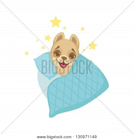Puppy Going To Sleep Colorful Illustration In Cute Girly Cartoon Style Isolated On White Background
