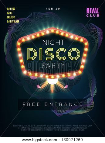 Night disco dance party poster with glowing frame. Vector design template. Dance disco, disco party music, club event disco dance, poster disco party illustration