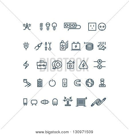 Electricity outline vector icons. Electricity bulb, energy electricity, power electricity icon illustration