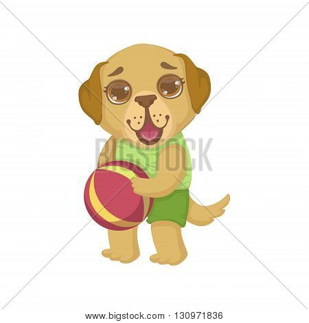 Puppy Holding The Ball Colorful Illustration In Cute Girly Cartoon Style Isolated On White Background