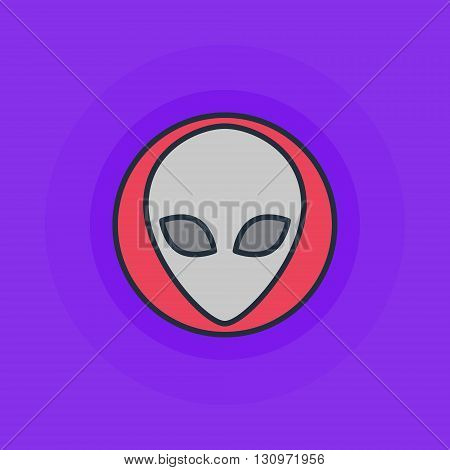 Alien flat icon - vector simple alien or invader symbol or logo element