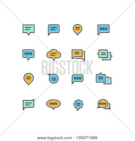 Speech bubble outline color icons for web and mobile application. Bubble message speech, icon speech bubble, chat and talk speech bubble, communication speech bubble, vector illustration