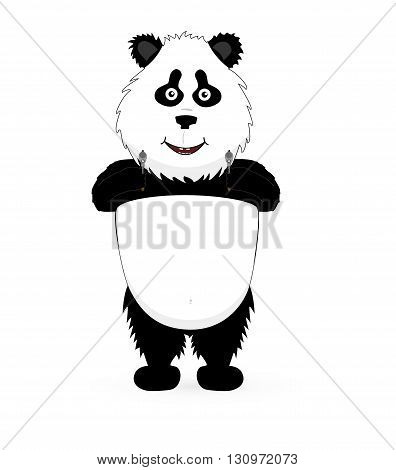 Vector Panda holding a guns on white