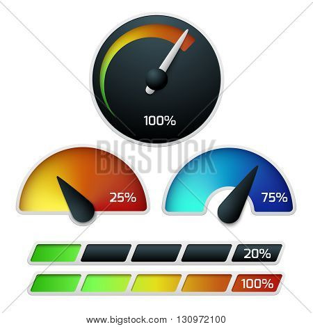Download speedometers vector set. Control speed download, web download  speedometer, download internet fast, download  illustration