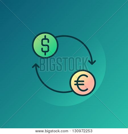 Currency exchange illustration - vector euro and dollar exchange symbol or sign