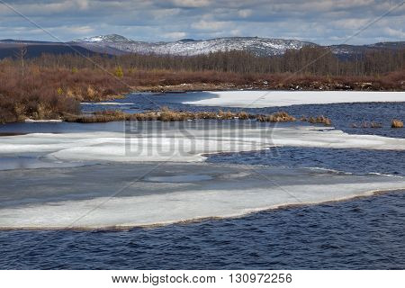 Spring at the lake in South Yakutia Russia