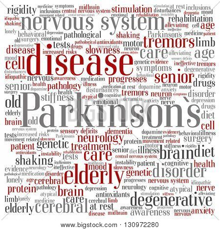 Concept conceptual Parkinson`s disease healthcare or nervous system disorder abstract square word cloud isolated on background