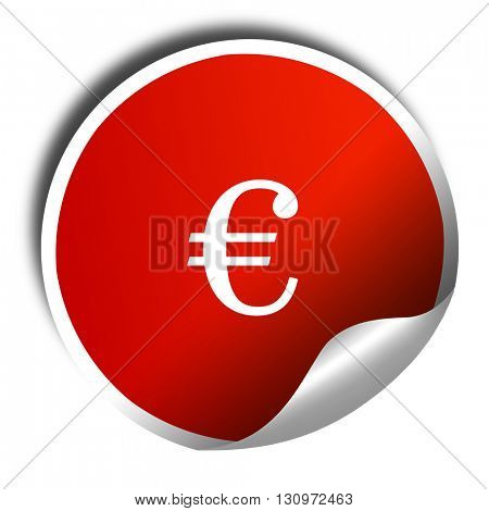 euro sign, 3D rendering, red sticker with white text